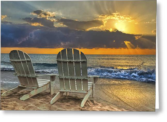 Sunrise On Beach Greeting Cards - In The Spotlight Greeting Card by Debra and Dave Vanderlaan