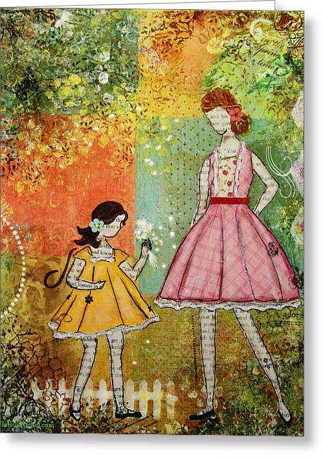 Janelle Nichol Greeting Cards - In The Springtime Unique mixed media Folk Art of Children Greeting Card by Janelle Nichol
