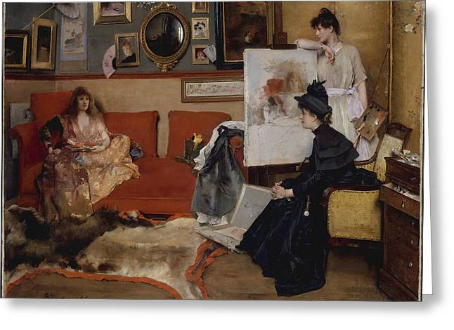 Academic Art Greeting Cards - In the Studio Greeting Card by Alfred Stevens