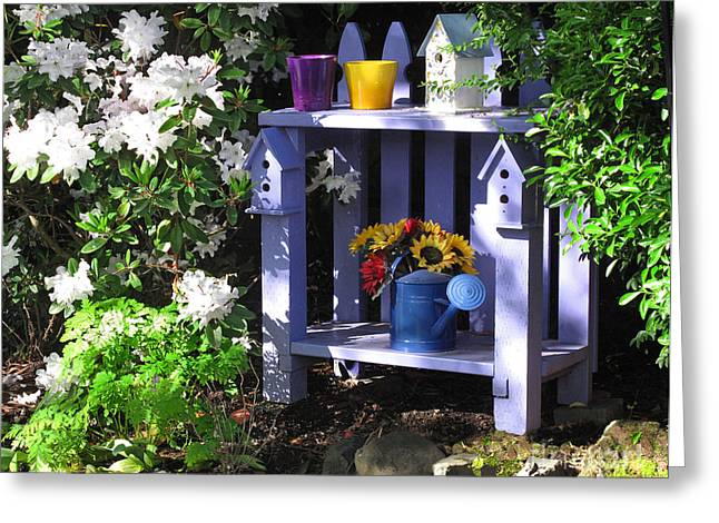 Potting Bench Greeting Cards - In the Summer Garden Greeting Card by Judy Neebel