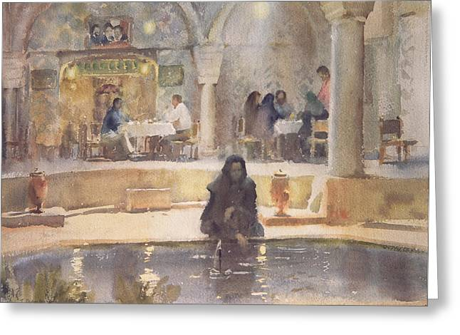 In The Teahouse, Kerman Wc On Paper Greeting Card by Trevor Chamberlain