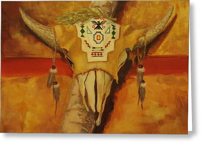 Native American Indian Medicine Wheel Greeting Cards - In the Tee Pee Greeting Card by Kathy Kucia