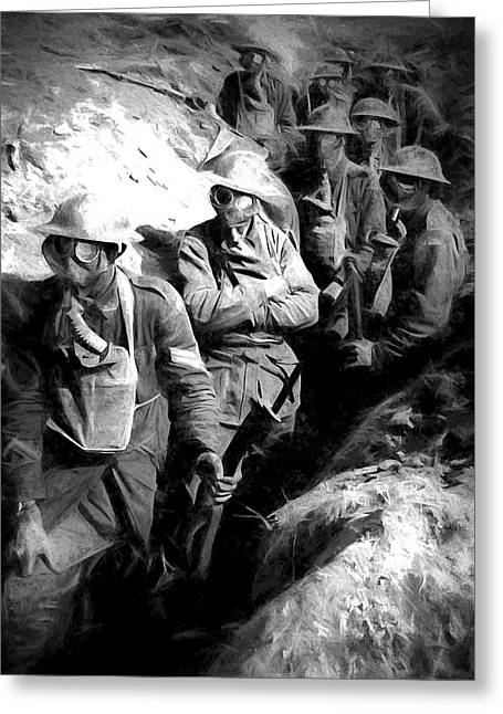 Wwi Greeting Cards - In The Trenches Greeting Card by Pennie  McCracken