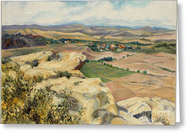 Indiana Rivers Paintings Greeting Cards - In The Valley Below Greeting Card by Gedda Runyon Starlin