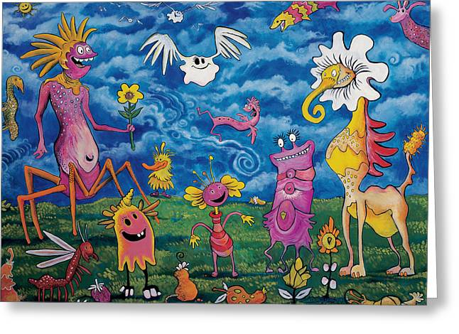 Cute Animal Cartoon Greeting Cards - In The Valley of Plantumi Greeting Card by Yom Tov