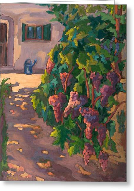 Bunch Of Grapes Photographs Greeting Cards - In The Vineyard, 2011 Oil On Board Greeting Card by Marta Martonfi-Benke