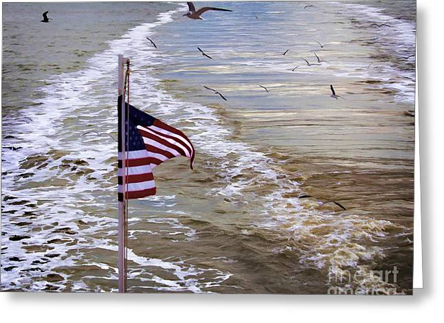 Galveston Greeting Cards - In the wake digital paint Greeting Card by TN Fairey