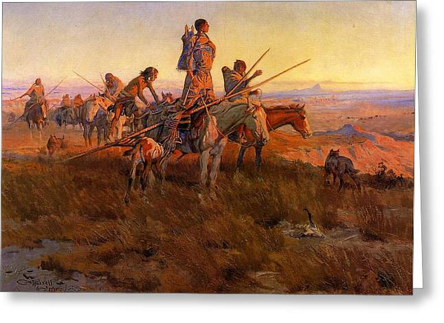 The American Buffalo Digital Art Greeting Cards - In The Wake of the Buffalo Hunters Greeting Card by Charles Russell