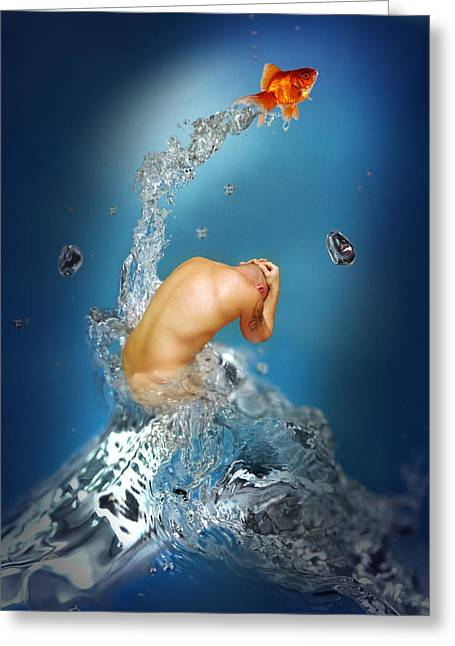 In The Water Greeting Card by Mark Ashkenazi