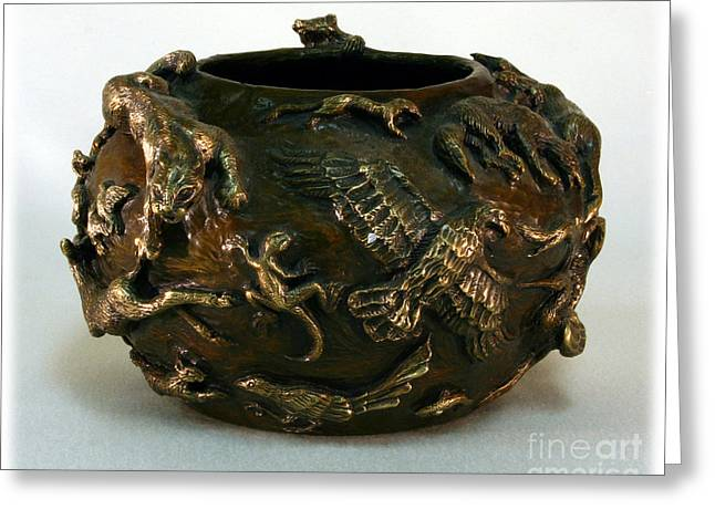 Buffalo Reliefs Greeting Cards - In the Wild - Bronze Wildlife Bowl with Mountain Lion Greeting Card by Dawn Senior-Trask