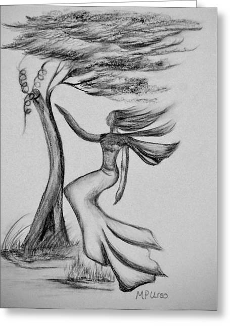 Breezy Drawings Greeting Cards - In the Wind She Dances Greeting Card by Maria Urso