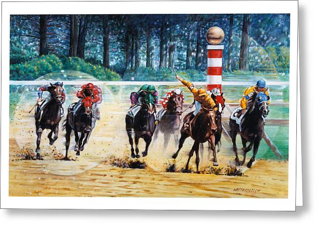 Horseraces Greeting Cards - In the Winners Circle Greeting Card by John Lautermilch