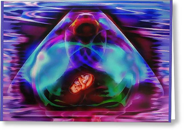 In The Womb Greeting Card by Mario Carini