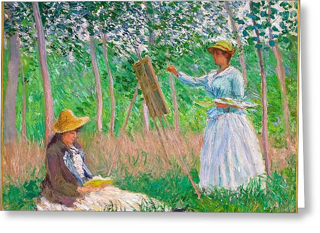 Reading Greeting Card Greeting Cards - In the Woods at Giverny Blanche Hoschede at Her Easel with Suzanne Hosched Reading Greeting Card by Claude Monet