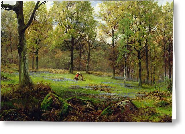 Forest Floor Paintings Greeting Cards - In the Woods Greeting Card by Henry Crossland
