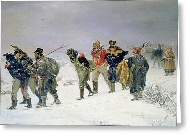 Retraite Greeting Cards - In The Year Of 1812, 1874 Oil On Canvas Greeting Card by Illarion Mikhailovich Pryanishnikov
