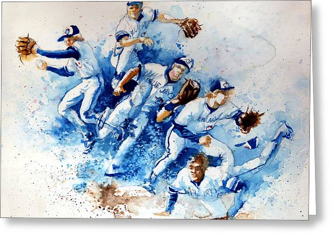 Baseball Paintings Greeting Cards - In The Zone Greeting Card by Hanne Lore Koehler