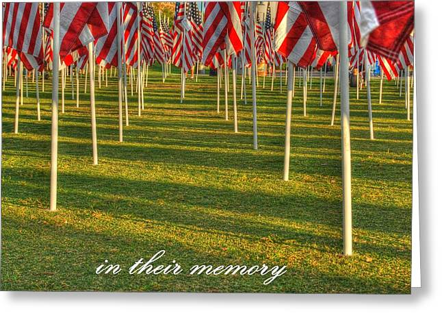 American_flag Greeting Cards - In Their Memory Greeting Card by Tam Ryan