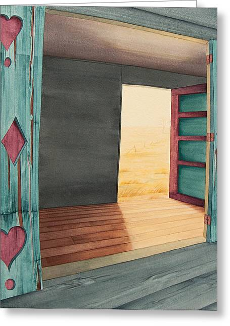 Abandoned House Paintings Greeting Cards - In Through The Window  Out Through The Door Greeting Card by Scott Kirby