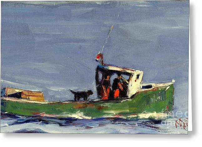 Lobster Fishermen Greeting Cards - In Tow Greeting Card by Molly Poole