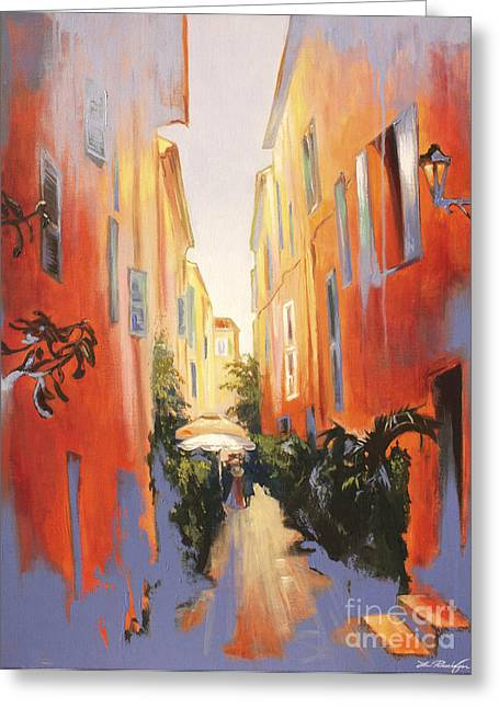 Saint-tropez Greeting Cards - In Town of Saint Tropez Greeting Card by Lin Petershagen