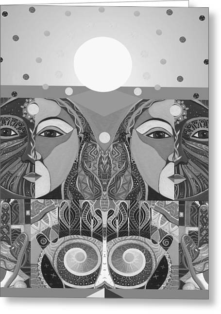 Love The Animal Mixed Media Greeting Cards - In Unity and Harmony in Grayscale Greeting Card by Helena Tiainen