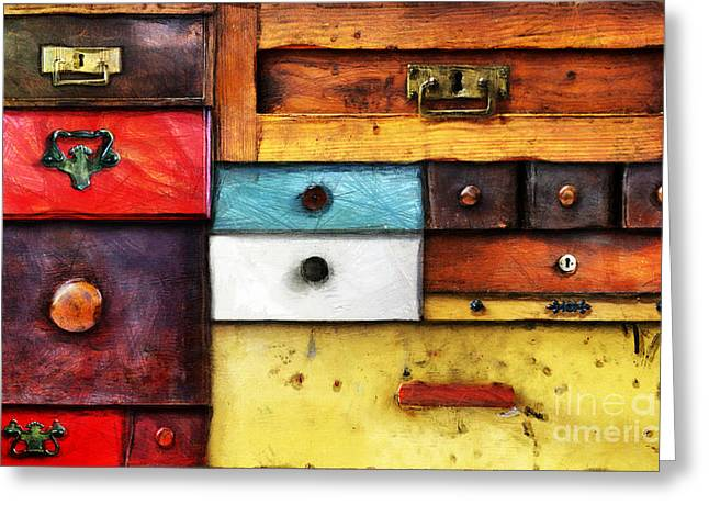 Chest Mixed Media Greeting Cards - In Utter Secrecy Greeting Card by Michal Boubin