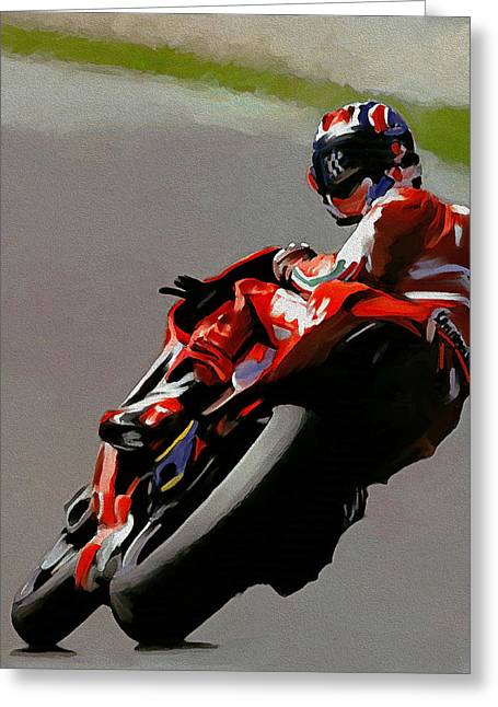 Casey Greeting Cards - In Victory Casey Stoner Greeting Card by Iconic Images Art Gallery David Pucciarelli