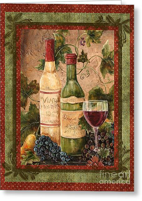Grape Leaves Mixed Media Greeting Cards - In Vino Veritas Greeting Card by Jean Plout