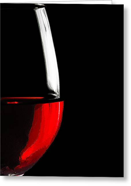 Connoisseur Greeting Cards - In vino veritas - Red on Black Greeting Card by Serge Averbukh