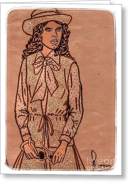 Outfit Drawings Greeting Cards - In Vogue Greeting Card by Joan-Violet Stretch