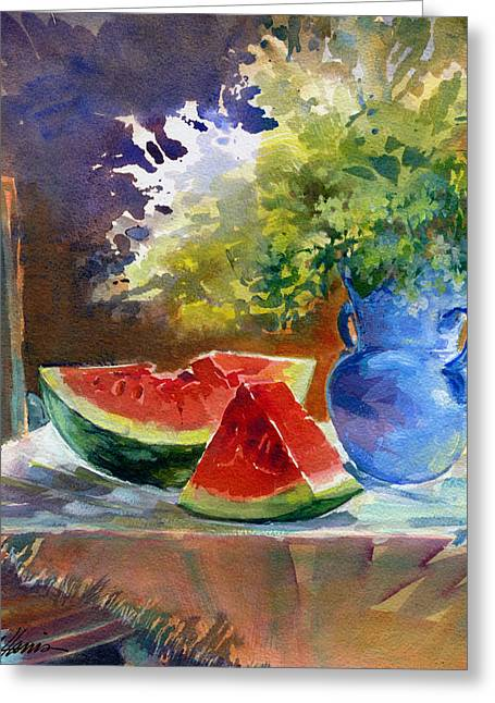Watermelon Greeting Cards - In Watermelon Time Greeting Card by Melissa Harris