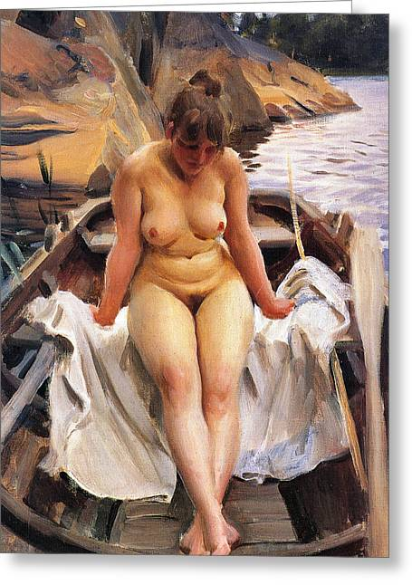 Sea Shore Digital Art Greeting Cards - In Werners Rowing Boat Greeting Card by Anders Zorn