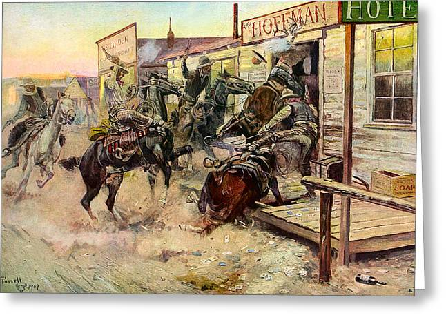 Western Art Greeting Cards - In Without Knocking Greeting Card by Charles Russell