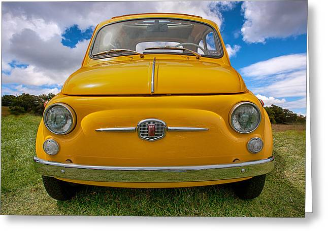 Fiat 500 Greeting Cards - In Yo Face Fiatch Greeting Card by Peter Tellone