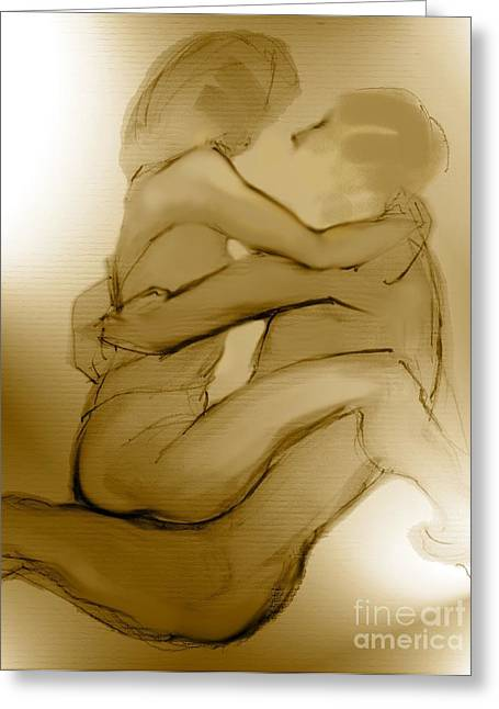 Nude Couple Greeting Cards - In Your Arms In Your Heart Greeting Card by Carolyn Weltman