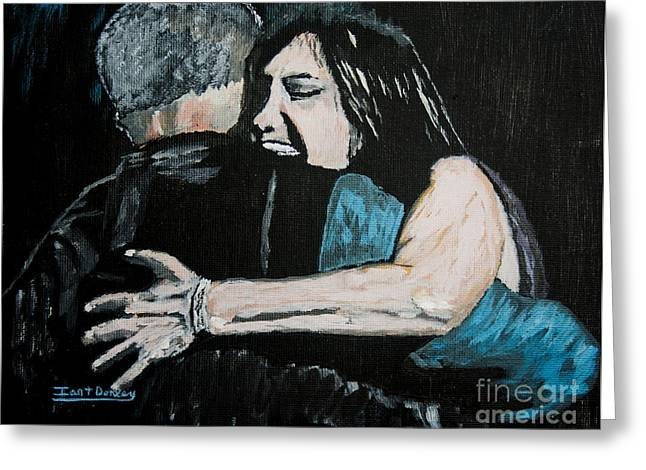 Separation Paintings Greeting Cards - In Your Daddys Arms Again Greeting Card by Ian Donley