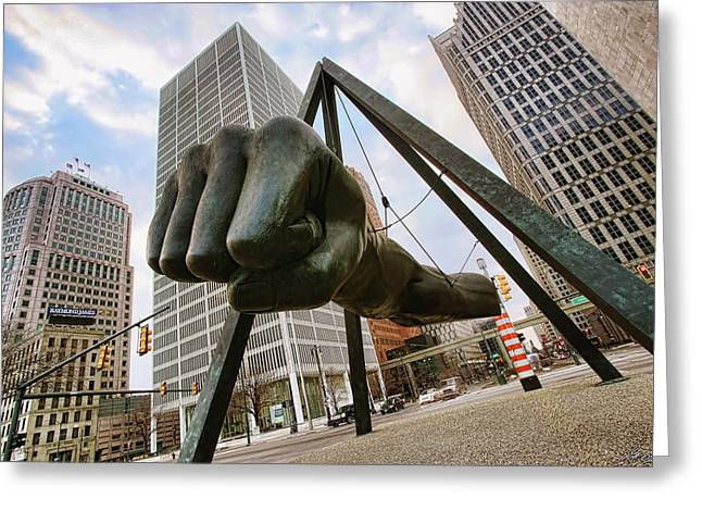 Red Tiger Greeting Cards - In Your Face -  Joe Louis Fist Statue - Detroit Michigan Greeting Card by Gordon Dean II