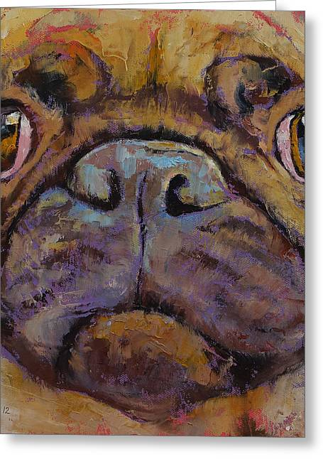 Carlin Greeting Cards - Pug Greeting Card by Michael Creese