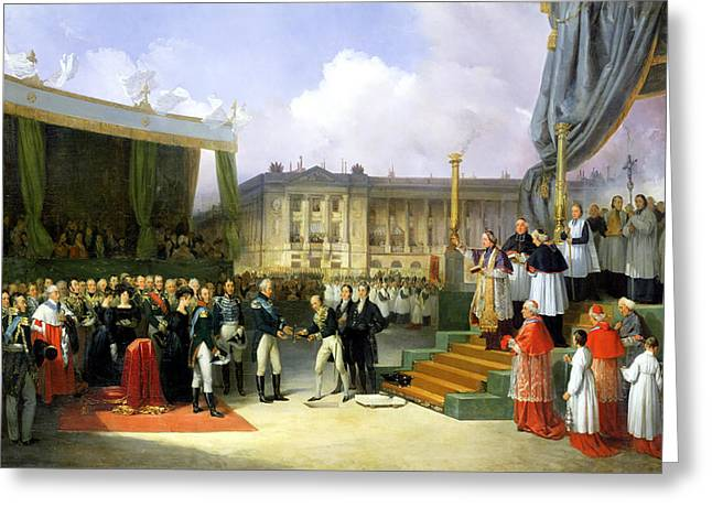 Xvi Greeting Cards - Inauguration Of A Monument In Memory Of Louis Xvi 1754-93 By Charles X 1757-1836 At The Place De La Greeting Card by Joseph Beaume