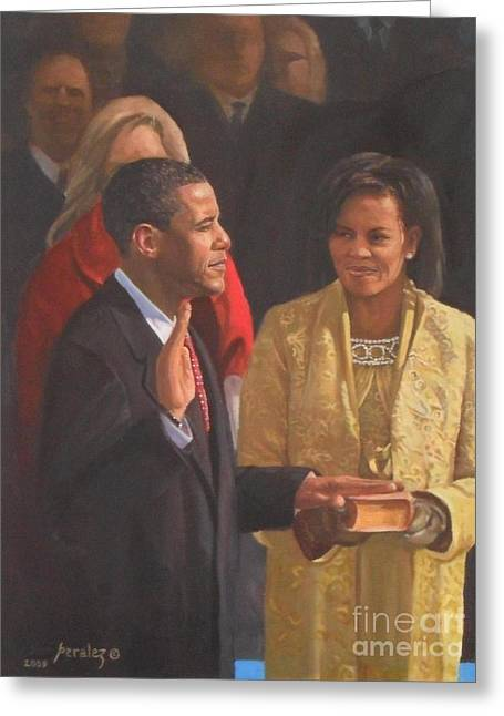 Best Sellers -  - Michelle Obama Paintings Greeting Cards - Inauguration Of Barack Obama Greeting Card by Noe Peralez