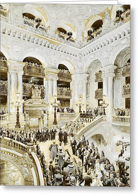Opening Greeting Cards - Inauguration Of The Paris Opera House, 5th January 1875, 1878 Wc & White On Paper Greeting Card by Jean-Baptiste Edouard Detaille