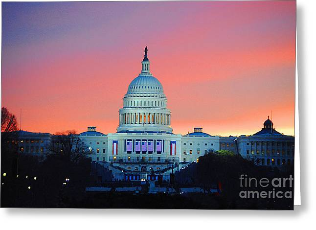 Vice President Biden Greeting Cards - Inauguration Sunrise as Painting Greeting Card by Jost Houk