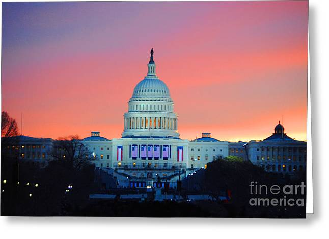 Inauguration Sunrise As Photo Greeting Card by Jost Houk