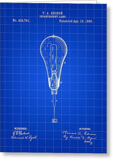Award Digital Art Greeting Cards - Thomas Edison Incandescent Lamp Patent 1890 - Blue Greeting Card by Stephen Younts