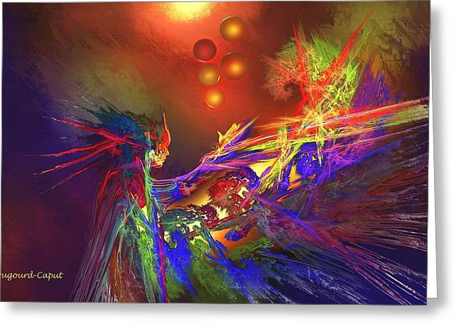 Abstract Digital Paintings Greeting Cards - Incantation Greeting Card by Francoise Dugourd-Caput