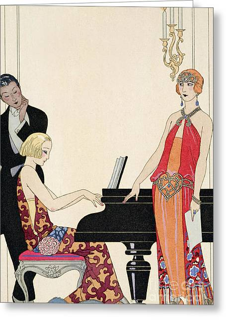 Piano Greeting Cards - Incantation Greeting Card by Georges Barbier