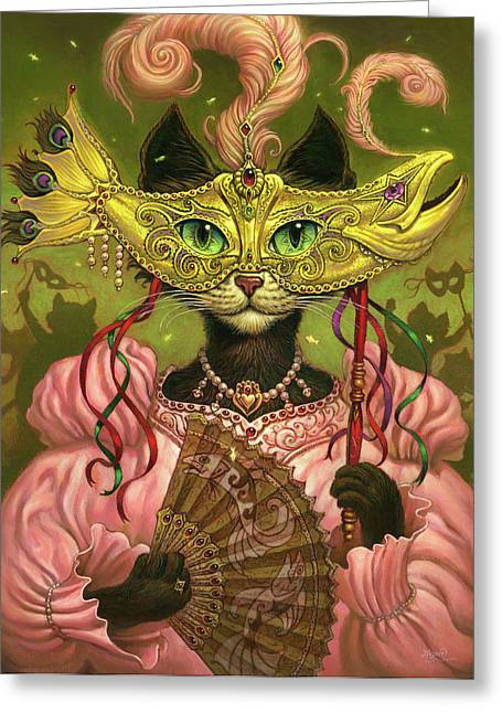 Black Cat Fantasy Greeting Cards - Incatneato Greeting Card by Jeff Haynie