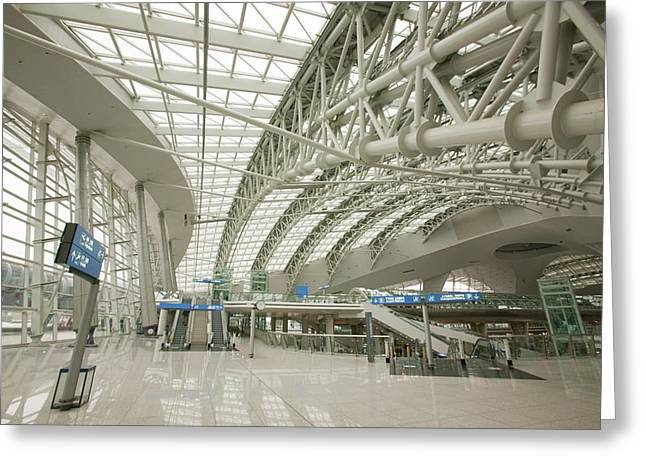 Incheon Airport In Seoul Greeting Card by Ashley Cooper