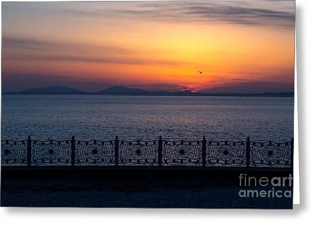Incheon Harbor Sunset Greeting Card by Jeremy Hansen